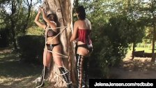 Dom Jelena Jensen Binds Aria Giovanni To A Tree in France!