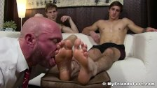 Inked jock feet 3way slobbered by bald businessman