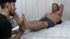 Cumming Sean Holmes wakes up during feet worship