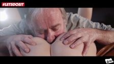 LETSDOEIT - TEEN Waitress Gets Her Tight Pussy Fucked By OLD Man