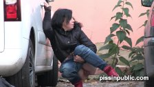 Lovely girls in tight jeans made it still in time to squat down and pee