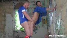 French sports coach fucks team player jock bareback in abandoned building