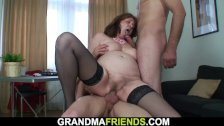 Old Redhead Office Granny Swallows Two Cocks At Once