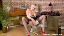 Blonde big tits Secretary Milf Tara Spades wanks on desk in nylons heels