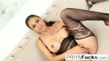 Sexy Indian MILF Priya Rai pleases her sexual urges
