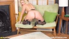 Blonde strips off black lingerie to sheer nylons to tease ass big tits clit