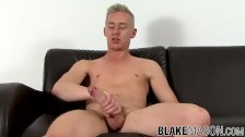 UK blond with a big fat cock wanks off after sex interview