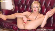 Dirty blonde April Paisley wanks in pantyhose stuffs pussy with nylons