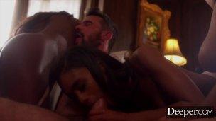 Deeper. Demi ambushes boyfriend with ebony reverse gangbang