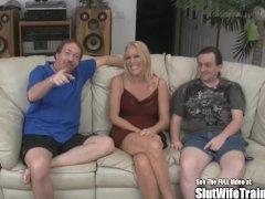 Fake Tits Anal Blonde Wife Fucks Two Slut Trainer Cocks