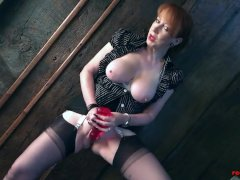 Naughty British mature Red fingers her wet pussy