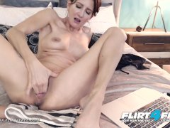 Flirt4Free - Mika Cox - Sexy Cougar Babe w Big Tits Makes Her Pussy Squirt