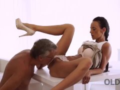 OLD4K. Sweet secretary Liliane caresses boss after hard day of work