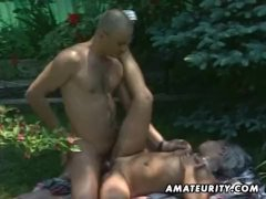 Blond amateur girlfriend outdoor action
