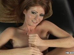 Attractive redhead strokes her kinky lover's