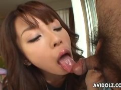 Asian babe gets to suck on a very small dick