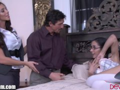 Latina Step-mother And Man Instruct Her Daughter