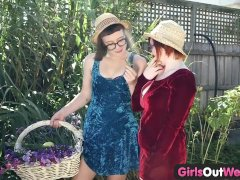 Girls Out West - Hairy lesbians lick pubes