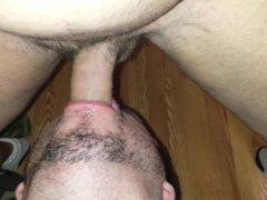 Russian whore eating my sweaty ass