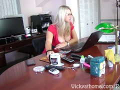Cum Doused Bra-stuffers On Workplace Tramp Vicky Vette!