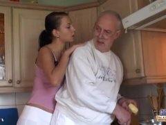 Brunette Eats Oldman All Over And Plumbs Him