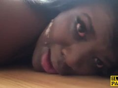 Ebony subslut assfucked and throated by dom