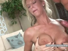 Brooke Banner takes the cum on her huge boobs