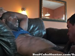 Soothing blowjob for a black construction worker dude