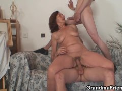 Horny Old Lady Sucking and Riding  Cocks