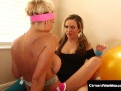 Lesbian Duo Carmen Valentina & Puma Swede Rub Their Pussies!
