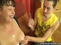 Plump Mature Whinge Swallows Two  Attractive Dicks