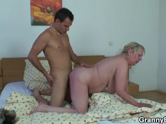 Attractive Dude Pup-fucks Attractive Old Blonde Grandma