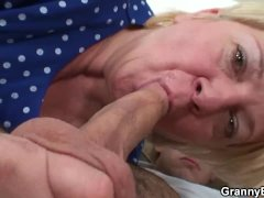 Blonde Vintage Granny Offers Head and Rides Him