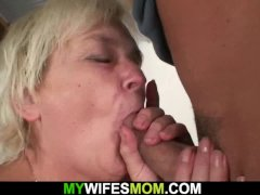 Her Blonde Old Mother and Boyfriend Taboo Intercourse
