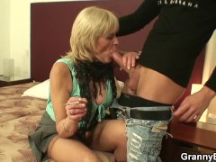 Old Grandma in Pantyhoses Rides His Huge Cock