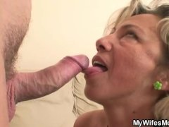 Old Mother Swallows His  Attractive Cock