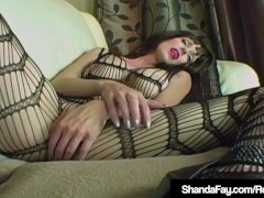 Cougar Shanda Fay Pokes Pulsing Stiffy In Figure Stocking!