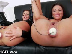 Lesbian Ass Licking Gapers Insert HUGE Objects in Buttholes!