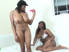 Two chubby black babes are being kinky together