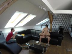 HUNT4K. Amazed cuckold watches GF's sex for money with another man