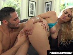 Blonde Babe Natalia Starr Splashed With Water Gun & Warm Cum
