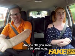 Fake Driving College Sensual Red-haired Humps In Car
