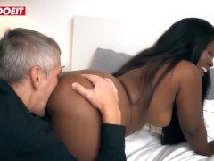 LETSDOEIT - German Ebony Pornstar Pussy Licked And Banged By Newbie