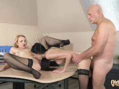 Old Supervisor at the Office Fucks His Two Beautiful Personal Assistants Pussy