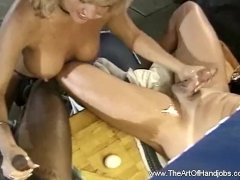 A Handjob Session With Tonguing Cum