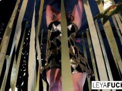 Sexy Leya Falcon Disrobes At A Gold Covered Strip Club