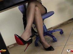 Horny secretary Irina Vega in pantyhose masturbates with her toy