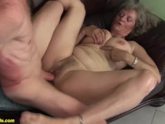 Bushy 76 Years Old Granny First Time Huge Cock Fucked