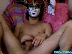 Masked jock Zack Randall sprays cum after solo masturbation