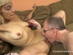 Young Sexy Blonde Slut With a Good Body Fucks an Older Man